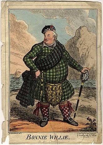 Sir William Curtis, 1st Baronet - Sir William Curtis, 1st Baronet as Bonnie Willie. George Cruikshank, 1822.