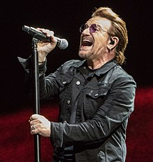 Bono singing in Indianapolis on Joshua Tree Tour 2017 9-10-17.jpg