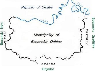 Dubica, Bosnia-Herzegovina - Municipality of Dubica marked blue