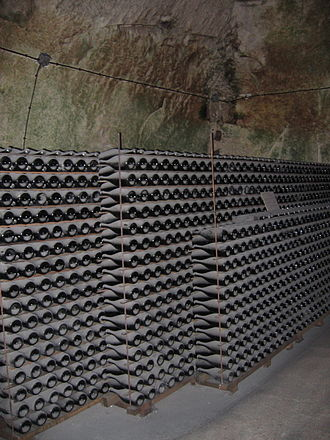 Traditional method - Bottles of Champagne aging in the cellars of Veuve Clicquot