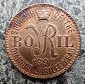 Bovril 1897 token with 'VR'.JPG