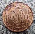 Bovril 1897 token with 'VR'.JPG