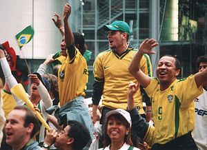 English: Brazilian Football supporters cheerin...
