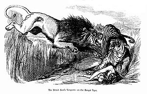 Editorial cartoon - 'The British Lion's Vengeance...', cartoon by John Tenniel in the aftermath of the Indian Rebellion of 1857