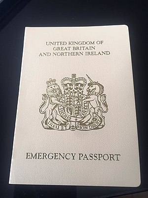 British passport - British emergency passport with its cream cover