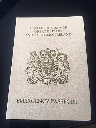 British passport - British emergency passport with its cream cover