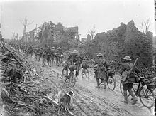 British bicycle troops Brie, Somme March 1917 IWM Q 1868.jpg