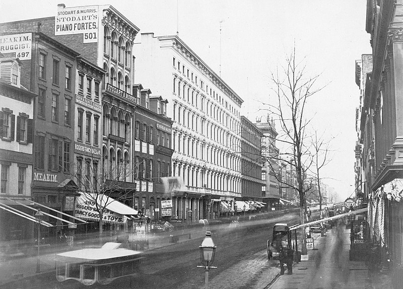 Broadway, looking north from Broome Street, Manhattan (circa 1853-1855).jpg