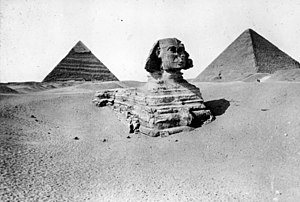 Sphinx - Great Sphinx before clearance, Brooklyn Museum Archives