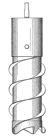 Drawing of a cylinder with two helical flanges around it and cutting teeth at the bottom