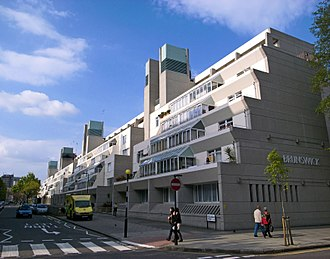 Brunswick Centre - The Brunswick Centre tiered flats, with ventilation towers