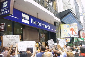 1998–2002 Argentine great depression - Depositors protest the freezing of their accounts, mostly in dollars. They were converted to pesos at less than half their new value.