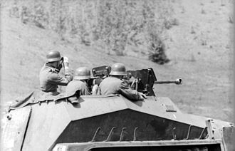 Sd.Kfz. 250 - German soldiers fire the 2.8 cm sPzB 41 heavy anti-tank rifle on the Sd.Kfz. 250/11. The vehicle was assigned to the elite Großdeutschland Division engaged on the Eastern Front.