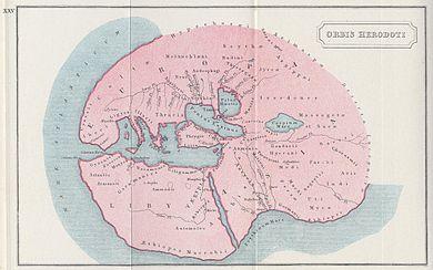 """Moderne Darstellung der """"Welt"""" Herodots. (Quelle: Wikimedia)"""