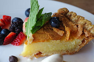 Buttermilk pie - Image: Buttermilk Pie with Pecan Brittle at Dyron's Lowcountry