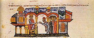 Byzantine–Bulgarian war of 913–927 - Image: Byzantine emperor Leo VI receives a Bulgarian delegation