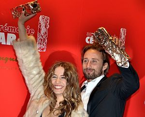 38th César Awards - Izïa Higelin (left) and Matthias Schoenaerts, César Award for Most Promising Actress and Actor.