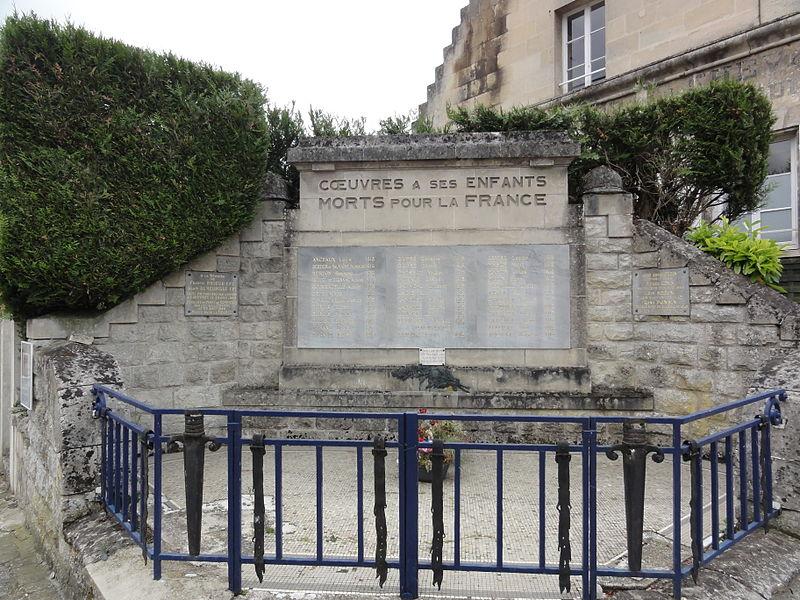Cœuvres-et-Valsery (Aisne) monument aux morts