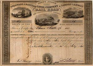 "United New Jersey Railroad and Canal Company - 1834 stock certificate of the ""Joint Companies"" signed by Robert L. Stevens (The B.C. Cooper Collection)"