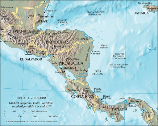 CIA map of Central America