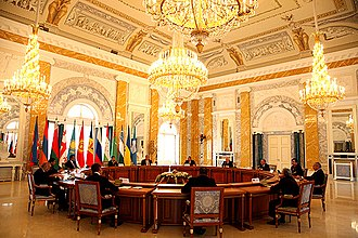 Strelna - Recreated neoclassical interiors housed the CIS Summit, June 2008
