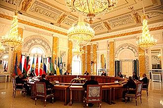 Strelna - Recreated neoclassical interiors housed the CIS Summit, June 2008