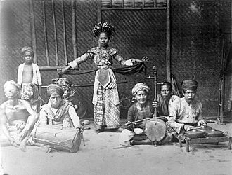 Betawi people - Topeng Betawi dance troupe during colonial Dutch East Indies.