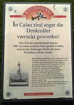 Calau Witzerundweg Tafel Kriegerdenkmal
