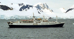 National Geographic Endeavour - Caledonian Star passing through Antarctica's Paradise Bay, February 2001, just days before being hit by a rogue wave