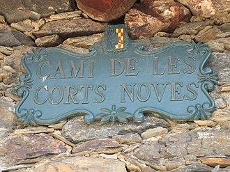 Anyós - Image: Camí de loes Corts Noves street sign