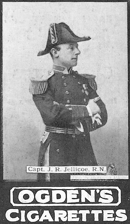 At the height of the British Empire, photographs of naval and military commanders were a popular subject for eagerly collected cigarette cards. The one shown here, from the turn of the 20th century, depicts then-Captain Jellicoe (later Admiral Jellicoe of World War I) in command of HMS Centurion, the flagship of the Royal Navy's China Station. CaptainJ.R.Jellicoe.jpg