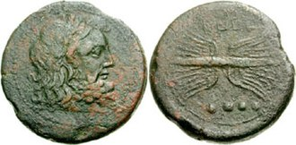 Thunderbolt - Zeus' head and thunderbolt on a coin from Capua, Campania, 216-211 BC.