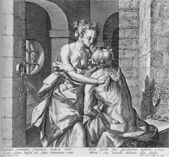 Daniel Soreau - Scene of Cimon and Pero in prison, engraving after Daniel Soreau