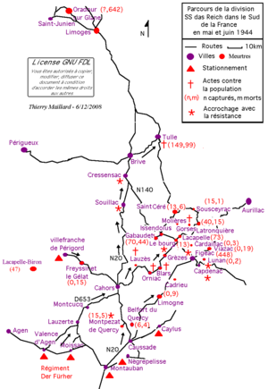 Tulle massacre - Route of the 2nd Panzer Division in May and June 1944.