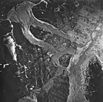 Casement Flood Plain and Muir Inlet, outwash plains and glacial remnent, August 24, 1963 (GLACIERS 5316).jpg