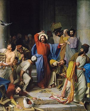 Jesus casting out the money changers at the temple