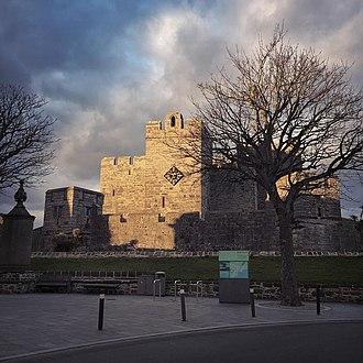 Castle Rushen - Castle Rushen as seen from Castletown's market square.