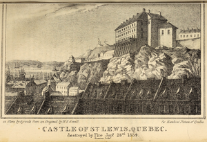 "Chateau St. Louis - ""Castle of St. Lewis"", as it was then called, before its destruction by fire."