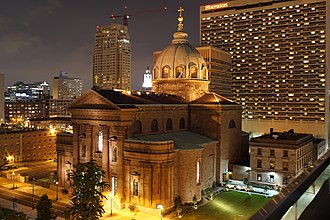 Roman Catholic Archdiocese of Philadelphia - The Cathedral Basilica of SS. Peter and Paul (view from intersection of 18th Street with Race Street and the Benjamin Franklin Parkway)