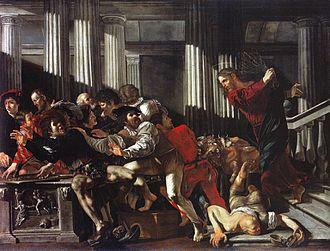 Cecco del Caravaggio - Christ Driving the Money Changers from the Temple