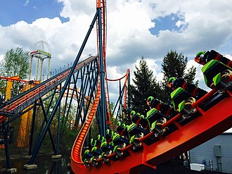 Rougarou (roller coaster) - Image: Cedar Point Rougarou cars on loop track (2859)