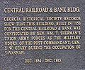 Central Railroad and Bank Building plaque in Savannah, Georgia.JPG