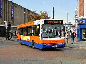 Centrebus - Plaxton Pointer bodied Dennis Dart SLF in Leicester City Centre in October 2011