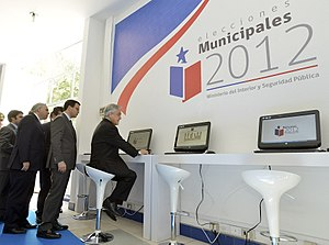 Chilean municipal election, 2012 - Election press headquarters at Teatro La Cúpula in O'Higgins Park, Santiago.