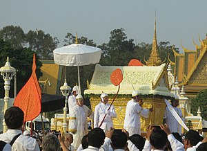 Norodom Chakrapong - Chakrapong accompanying Sihanouk's hearse at his father's funeral in February 2013.