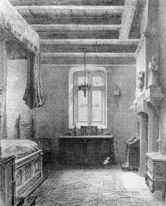 Henri Duponchel - Duponchel's bedchamber at the Opéra's Salle Le Peletier, designed by Jean-Jacques Feuchère (1836)
