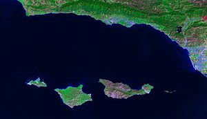 English: Satellite image of the Channel Island...
