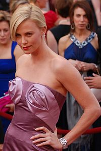 A photograph of Theron on the red carpet at the 82d Academy Awards in 2010