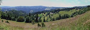 Beskid Sądecki - View from the village house of Niemcowa on the Jaworzyny Range