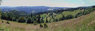 Beskid Sądecki - View from the village house of Niemcowa on the Jaworzyny Range